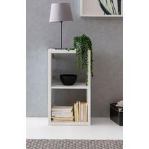 Wohnling Würfelregal EDDIE 77x29x42 cm Bücherregal mit 2 Fächern Weiß Standregal Holz Regal freistehend, Ordnerregal Raumteiler Würfel-Regal modern, Offenes Aufbewahrungsregal weiß