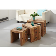 Wolf Möbel Indien 3-Satz Tisch Cube Beistelltisch Container
