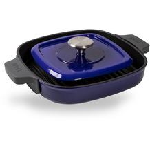 Woll Iron Steakpfanne mit Rillen Cobalt Blue 24 x 24 cm