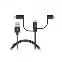 XLayer Kabel PREMIUM MFI 3-IN-1 USB-C & Micro USB & Lightning Black 1m
