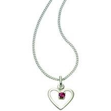 ZEEme For Kids Anhänger mit Kette 925/- Sterling Silber Glasstein rosa weiß 3449