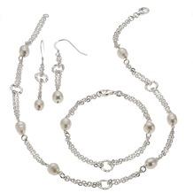 ZEEme Pearls Set 4-teilig 925/- Sterling Silber Perle weiß  205
