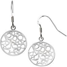 ZEEme Silver Ohrhänger 925/- Sterling Silber Sterne und Kreise weiß 2221