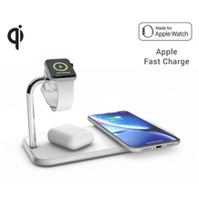 ZENS Aluminium Dual Wireless Charger + Apple Watch 10W, Qi, weiß, ZEDC05W/00
