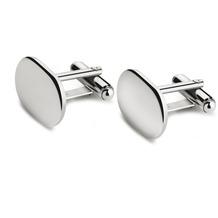 Zilverstad Manschettenknöpfe, oval, glatt, Paar(B90)  Silber