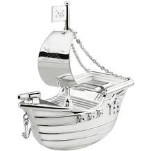 Zilverstad Spardose Piratenschiff versilbert und lack geschützt