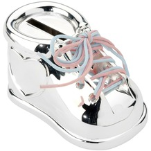 Zilverstad Spardose Schuh mit rosa & blauem Schnürsenkel versilbert an.