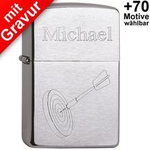 Zippo Benzinfeuerzeug mit Gravur *Dartpfeil + Wunschtext* (z.B. Namen)
