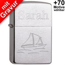 Zippo Benzinfeuerzeug mit Gravur *Segelboot + Wunschtext* (z.B. Namen)