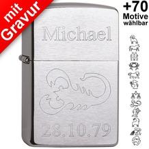 Zippo Benzinfeuerzeug mit Gravur *Sternzeichen + Wunschtext* (z.B. Name, Geburtsdatum)