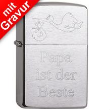 Zippo Feuerzeug MIT DIAMANTGRAVUR - Storch mit Baby & Wunschtext (z.B. Namen) - Benzinfeuerzeug PL 200 Chrome Brushed Gravur