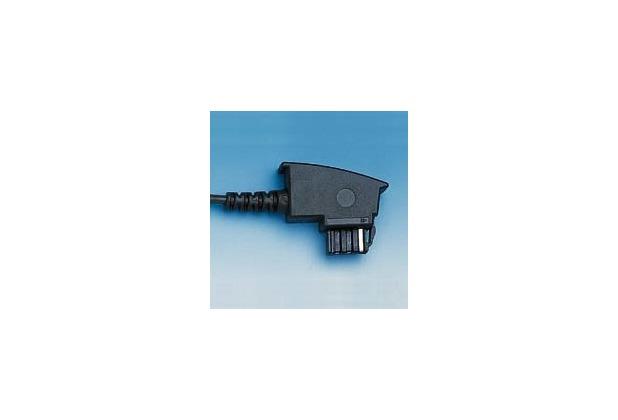 HDK Anschluss-Schnur TAE F -> RJ11, 3m schwarz, Standard-Belegung (US Norm)