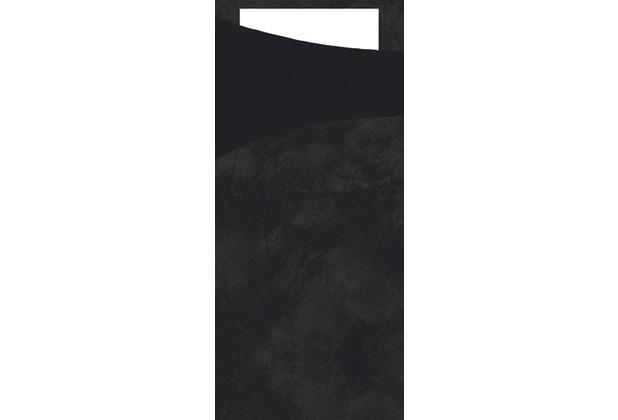 Duni Sacchetto Serviettentasche Uni schwarz , 8,5 x 19 cm, Tissue Serviette 2lagig weiß, 100 Stück