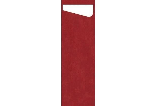 Duni Sacchetto Serviettentasche Slim Uni rot, Dunisoft Serviette weiß, 60 Stück