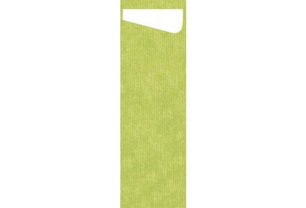 Duni Sacchetto Serviettentasche Slim Uni kiwi, Dunisoft Serviette weiß, 60 Stück