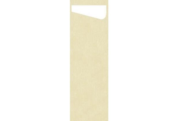 Duni Sacchetto Serviettentasche Slim Uni champagne, Dunisoft Serviette weiß, 60 Stück