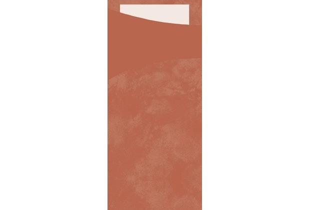Duni Sacchetto Serviettentasche Uni mandarin, 8,5 x 19 cm, Tissue Serviette 2lagig weiß, 100 Stück