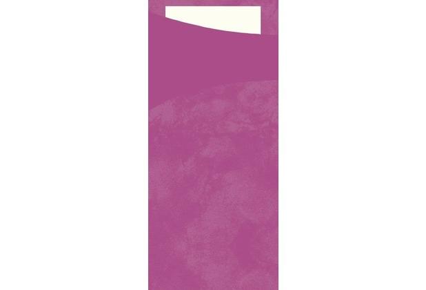 Duni Sacchetto Serviettentasche Uni fuchsia, 8,5 x 19 cm, Tissue Serviette 2lagig weiß, 100 Stück