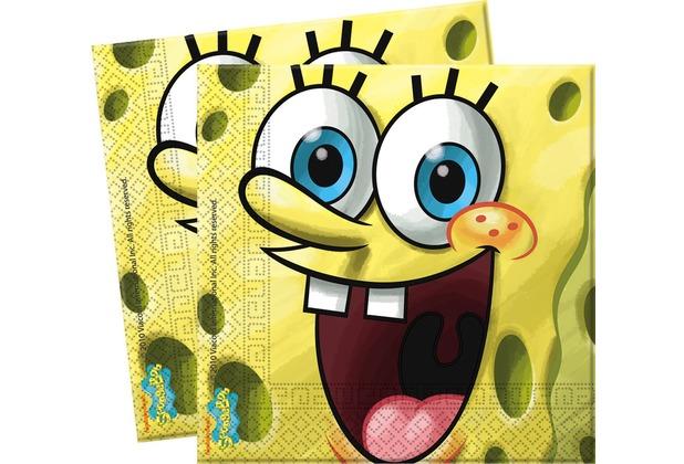 "PROCOS 2-lagige Papierserviette mit Motiv \""Spongebob`s Party\"", 20 Stück"
