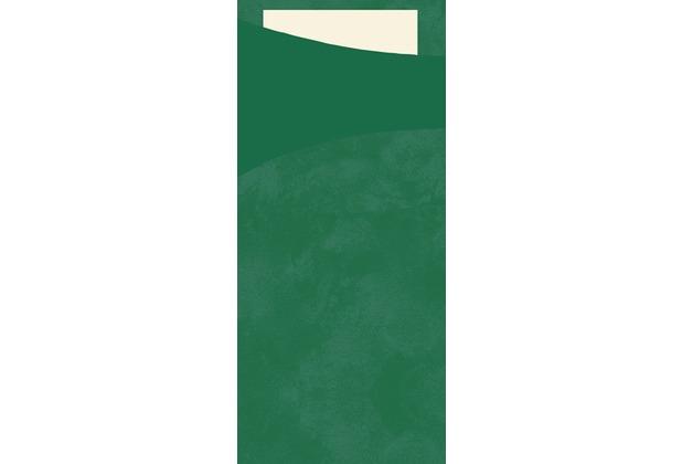 Duni Sacchetto Serviettentasche Uni dunkelgrün, 8,5 x 19 cm, Tissue Serviette 2lagig cream, 100 Stück