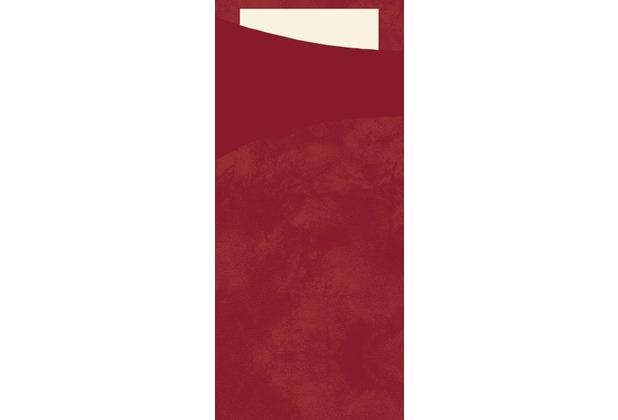 Duni Sacchetto Serviettentasche Uni bordeaux, 8,5 x 19 cm, Tissue Serviette 2lagig cream, 100 Stück