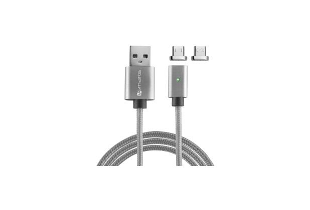 4smarts GRAVITYCord Magnetisches Micro-USB-Kabel 1m grau, 2-er Pack Anschluss-Stecker