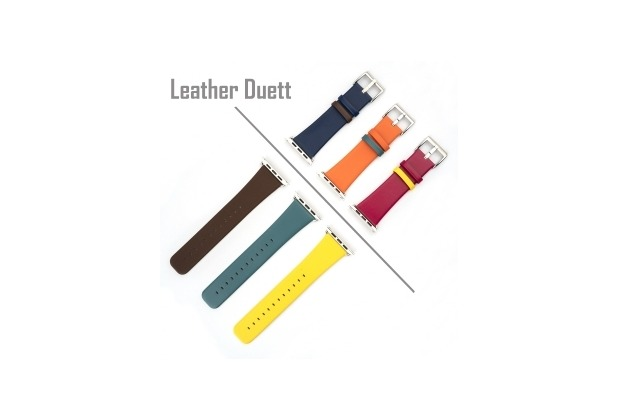 4smarts Leather Duett Armband für Apple Watch Series 4 (40mm) & 3/2/1 (38mm) grün/orange