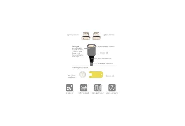 4smarts Magnetisches USB-Kabel GRAVITYCord 2.0 1m grau + Zwei Lightning Stecker