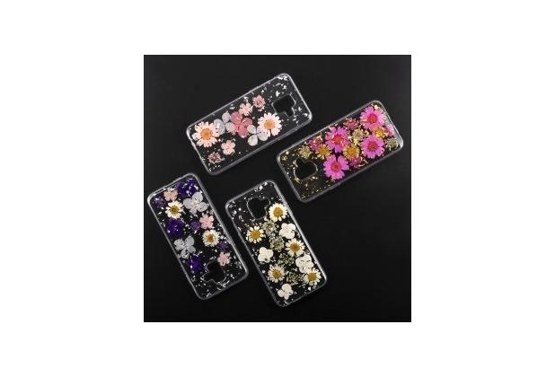 4smarts Soft Cover Glamour Bouquet für Samsung Galaxy A6 (2018) weiße Blumen /silberne Flocken