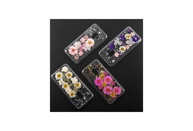 4smarts Soft Cover Glamour Bouquet für Samsung Galaxy S9 weiße Blumen/silberne Flocken