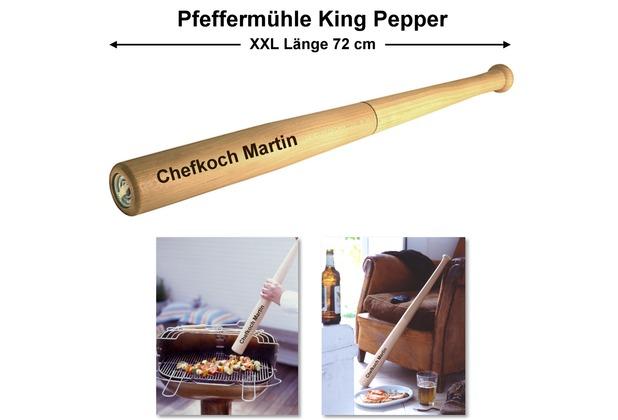 """Cole & Mason King Pepper große Pfeffermühle """"Baseballschläger"""" MIT GRAVUR (z.B. Namen) XXL Länge 72 cm aus Buchen-Holz mit Edelstahl-Mahlwerk"""