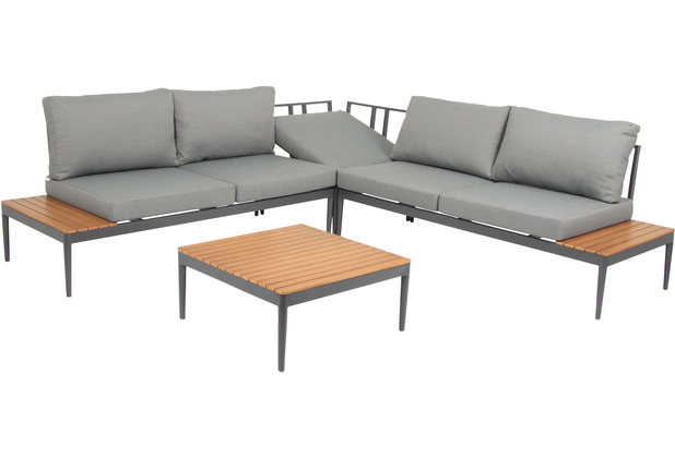 acamp Loungeset Paros 4-teilig, grau Gartenmöbelset