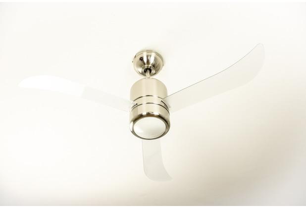 AireRyder Loft Deckenventilator in Satin Nickel mit transparenten Flügeln 112 cm Durchmesser