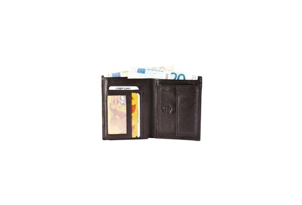 Akzent Herren Geldbörse aus Echtleder. Format 9 x 12 cm. Dunkelbraun 3000034-005