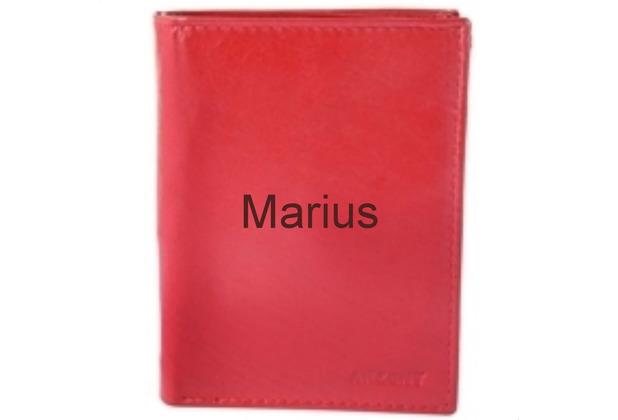 Akzent Herren Geldbörse MIT GRAVUR (z.B. Namen) aus Echtleder. Format 9 x 12 cm. Rot 3000032-003