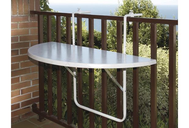 ALCO Balkonhängetisch, Stahlrohruntergestell, kunststoffbeschichtete Platte weiß, L 100 x B 50 cm