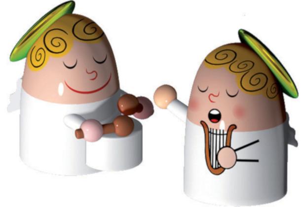 Alessi Figur Engel Trommel und Harfe - 2er Set