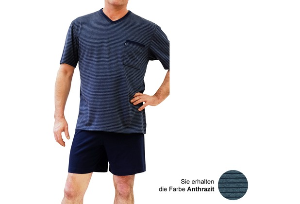 AMMANN Schlafanzug kurz, V-Ausschnitt, Brusttasche, anthrazit 48