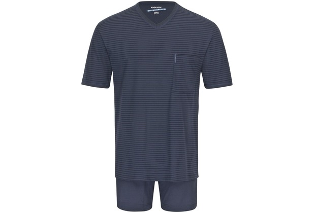 AMMANN Schlafanzug kurz, V-Ausschnitt, Brusttasche, dunkelblau gestreift 48