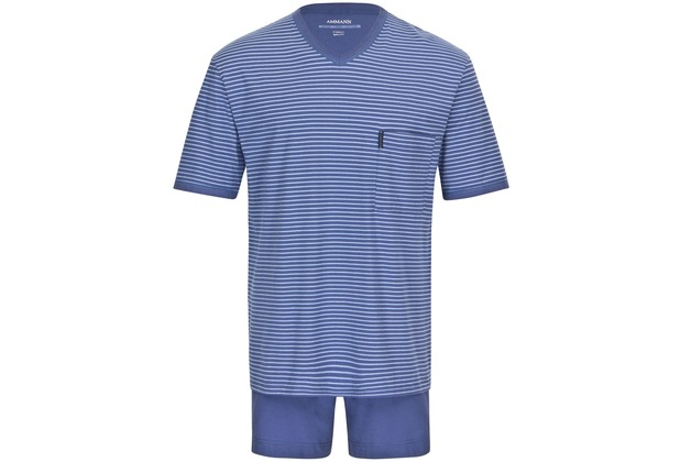 AMMANN Schlafanzug kurz, V-Ausschnitt, Brusttasche, polo 48