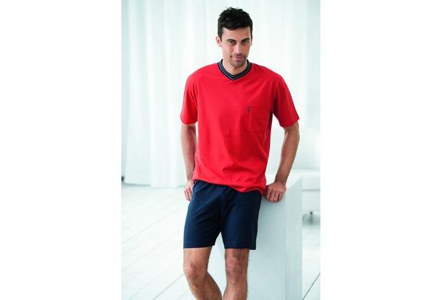 AMMANN Schlafanzug kurz, V-Ausschnitt, Brusttasche, rot 48