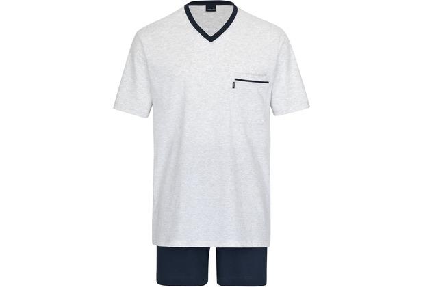 AMMANN Schlafanzug kurz, V-Ausschnitt, Tasche, hellblaumelange hell 48