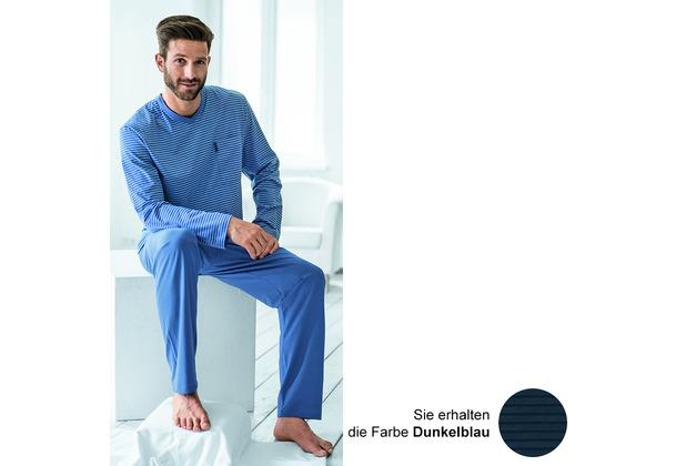 AMMANN Schlafanzug lang, V-Ausschnitt, Brusttasche, dunkelblau gestreift 48