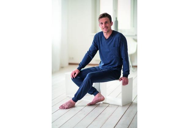 AMMANN Schlafanzug lang, V-Ausschnitt, Tasche, nightblue 48