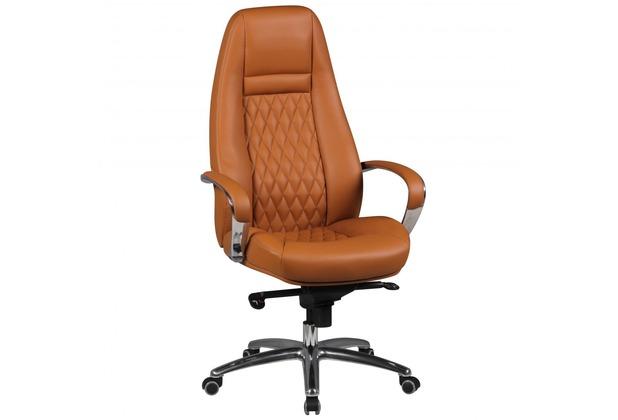 Amstyle Bürostuhl AUSTIN Echt-Leder Caramel 120KG Chefsessel hohe Rückenlehne mit Kopfstütze X-XL