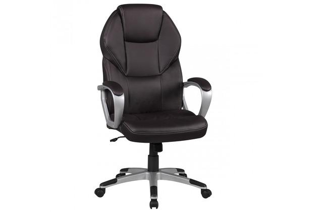 Amstyle Bürostuhl DETROIT Braun Kunstleder Schreibtischstuhl X-XL Chefsessel 120KG Drehstuhl mit Armlehne
