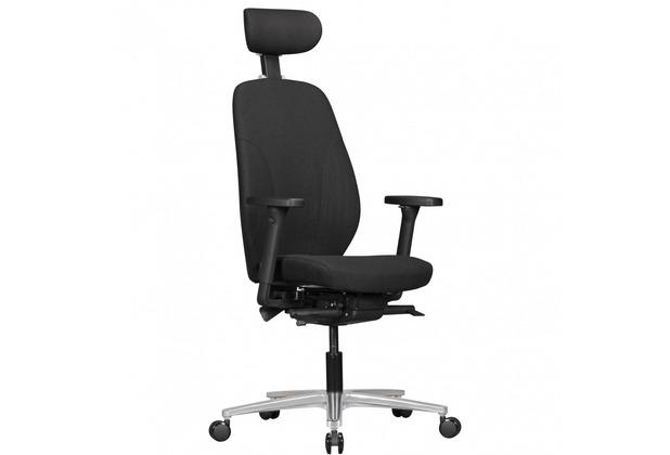 Amstyle Bürostuhl OSKAR Stoff-Bezug & Kopfstütze Schwarz, Design Chef-Sessel Synchromechanik