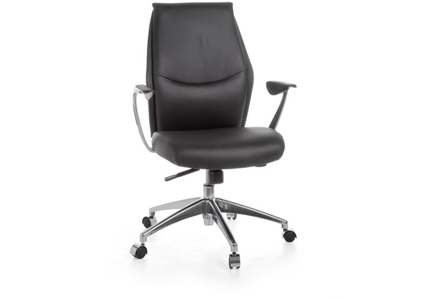 Amstyle Bürostuhl OXFORD 2 Echtleder Schwarz 5-Punkt Synchronmechanik Drehstuhl 120kg