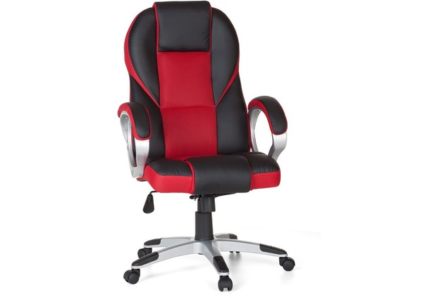 Amstyle Bürostuhl RACE Rot Gaming Chefsessel Racer Drehstuhl 120kg Synchronmechanik Schreibtischstuhl