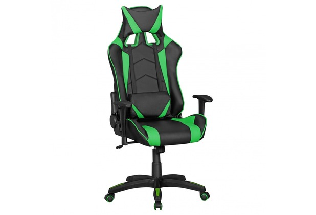 Amstyle Bürostuhl SCORE Leder-Optik Schwarz / Grün Schreibtischstuhl Chefsessel Gaming Chair Drehstuhl